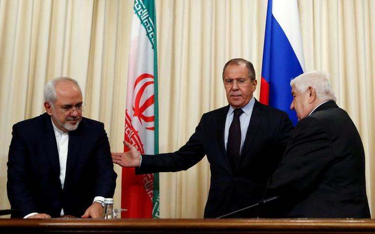 Russian Foreign Minister Lavrov and his counterparts al-Muallem from Syria and Zarif from Iran attend news conference in Moscow