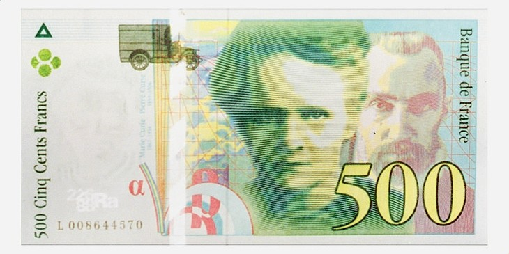 2017.03.15 Recto-billet-500-francs-francais-effigie-chercheurs-Pierre-Marie-Curie-circulation-22-mars-1995_0_730_365