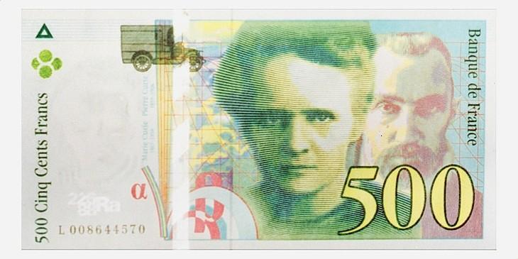 2017.03.15 Recto-billet-500-francs-francais-effigie-chercheurs-Pierre-Marie-Curie-circulation-22-mars-1995_0_730_365