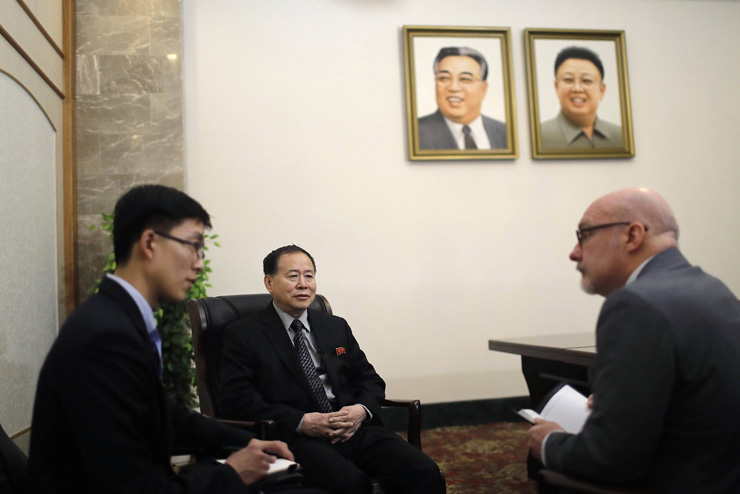 2017.04.15 Han Song Ryol, center, North Korea's vice minister of foreign affairs, speaks during an interview with The Associated Press on Friday in Pyongyang, North Korea. Y2017041404000