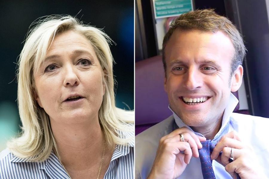 2017.04.25 Marine-Le-Pen-Emmanuel-Macron