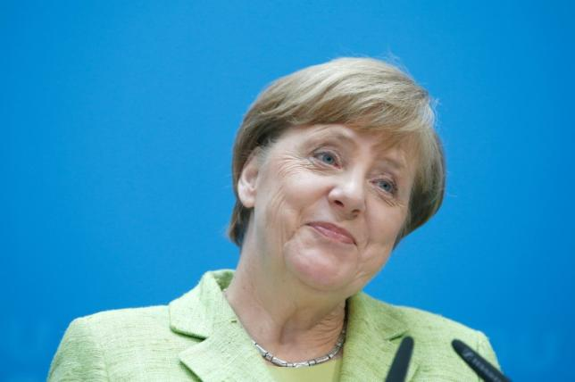German Chancellor Merkel addresses a news conference in Berlin