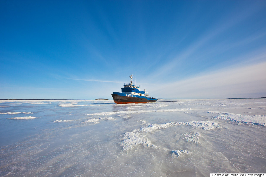 Ship on the frozen sea.