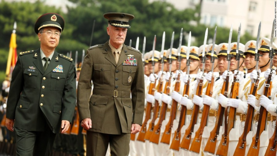 2017.08.28 Gen. Joseph Dunford, chairman of the Joint Chiefs of Staff, and Chinese Gen. Fang Fenghui on Tuesday.170816103749-dunford-beijing-china-us-military-super-169
