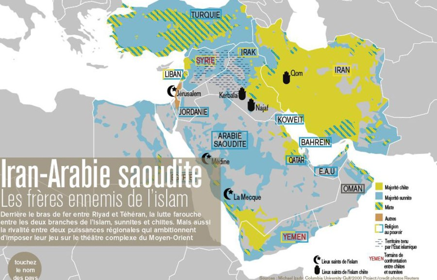 Carte-infographie-Arabie-saoudite-Iran