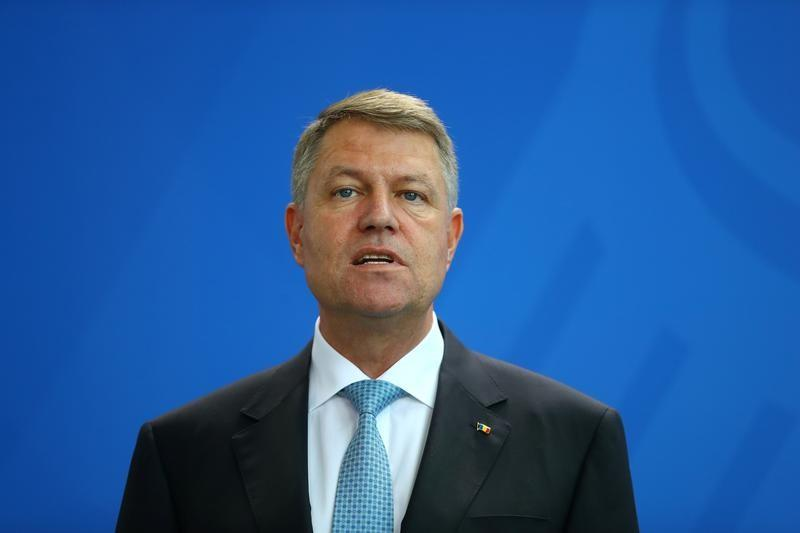 Romanian President Klaus Iohannis during a news conference at the Chancellery in Berlin