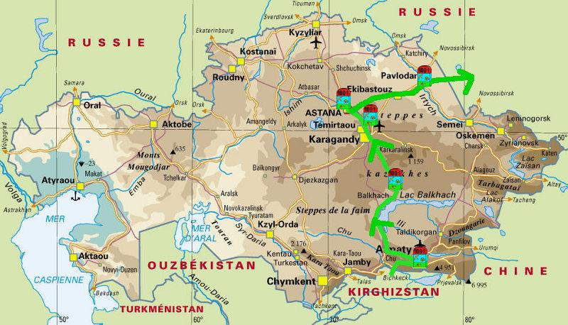 Kazakhstan la frontière entre les deux pays est située au nord du Kazakhstan 19c_Kazakhstan