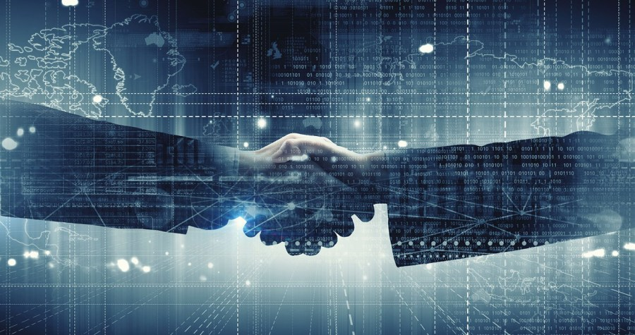 46263612 - close up of business handshake on digital background
