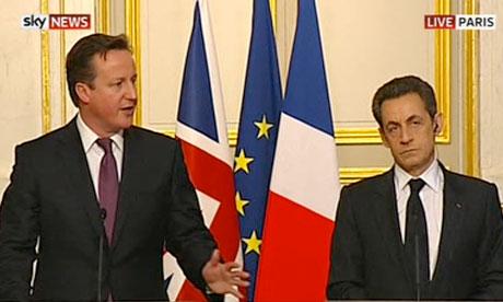 David Cameron and Nicolas Sarkozy in Paris