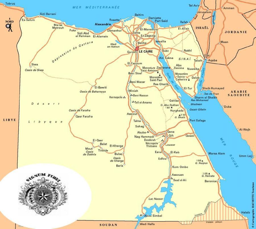 EGYPTE carte_egypte_route_grande