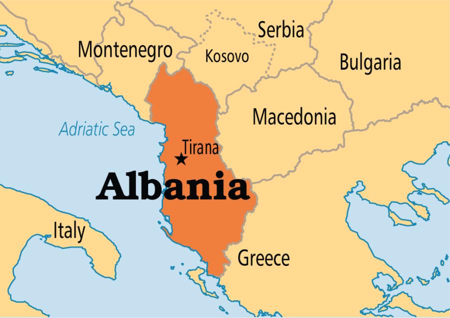 BALKANS ALBANIE MACEDOINE Albania-Map