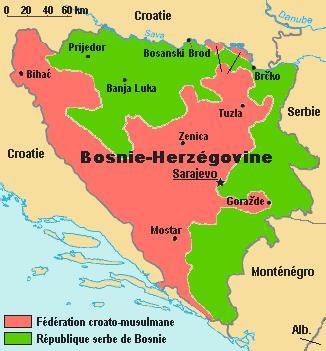 BALKANS Bosnie-Herzegovine-carte
