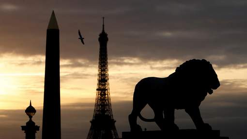 A view shows the Luxor Obelisk and the Eiffel Tower from the Place de la Concorde in Paris