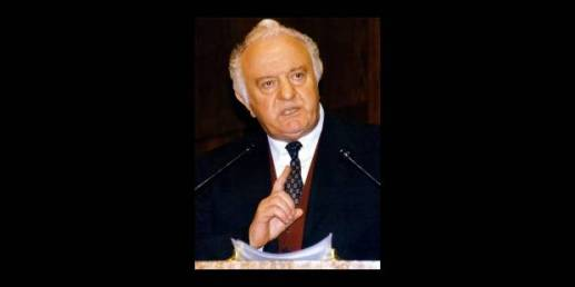 (FILES) An undated file picture shows Georgian President Eduard Shevardnadze. Georgia's political opposition dramatically upped the stakes Sunday evening, 23 November 2003 in its confrontation with President Eduard Shevardnadze, giving him one hour to flee the republic. Shevardnadze caved into opposition demands and signed a resignation statement Sunday evening, according to unconfirmed news reports. The independent television channel Rustavi-2 said the president had agreed to leave the country. A plane was waiting to fly him out of the airport in Tbilisi, the report said. EPA/-