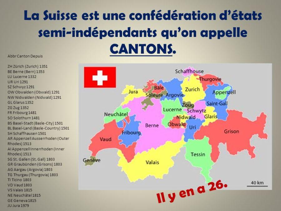 SUISSE La+Suisse+est+une+confédération+d%u2019états+semi-indépendants+qu%u2019on+appelle+CANTONS.