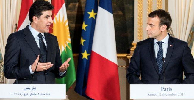 KURDISTAN IRAKIEN le premier ministre de la région autonome Du Kurdistan irakien, Nechervan Barzani macron-barzani-kurdistan-iraq-m