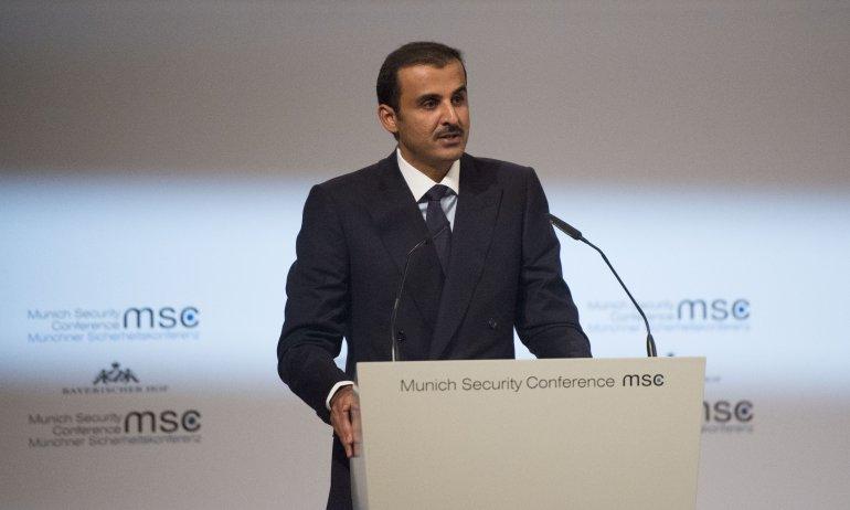 QATAR l'Emir Cheikh Tamim bin Hamad Al-Thani prononçant un discours lors de la séance d'ouverture de la Conférence de Munich emir