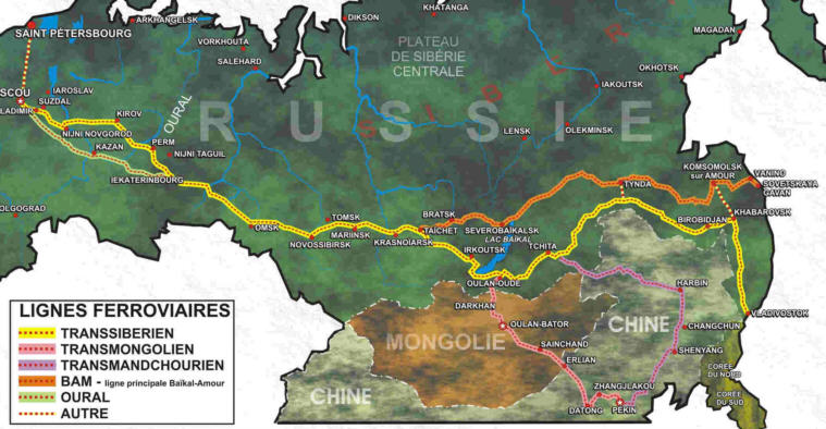 russie Transsiberien-carte-du-transsiberien-Transsmongolien-Transmandchourien-ligne-Baikal-Amour-Oural-Moscou-Vladivostok-Russie