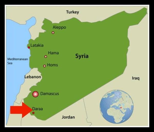 Syria_map La ligne de démarcation régionale et internationale à Daraa sur le point de s_embraser.