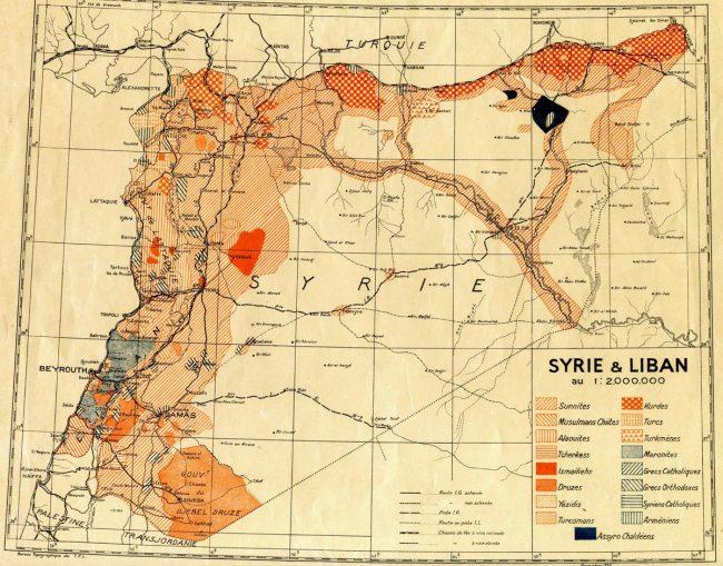 SYRIE Carte coloniale de la Syrie LeMicMaccarte-historique-syrie-650x509