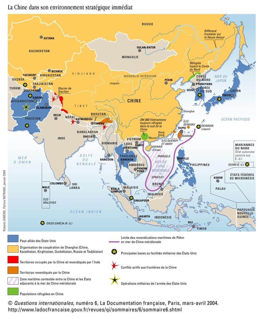 CHINE La Chine dans son environnement géostratégique. qi6chine