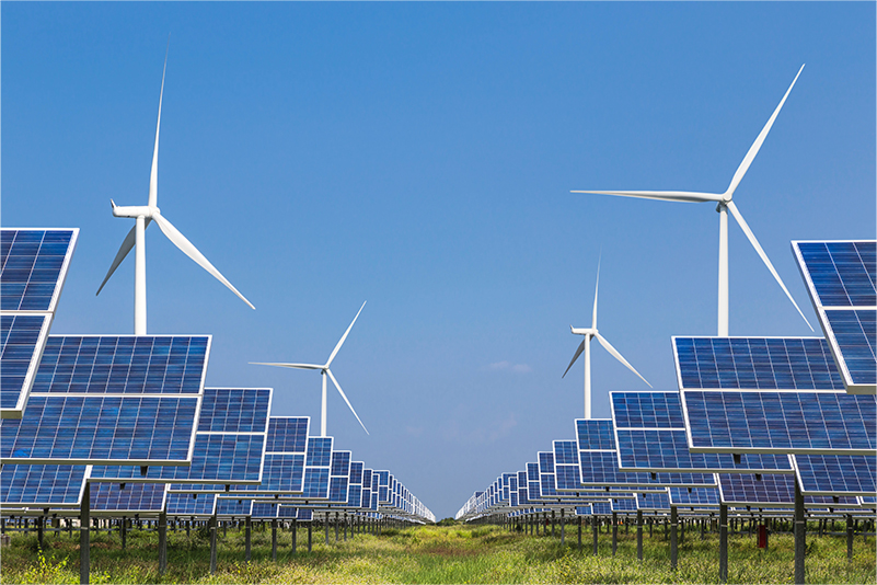 photovoltaics  solar panel and wind turbines generati