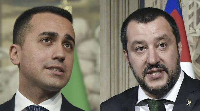 Italie luigi_di_maio_matteo_salvin Les partis de Luigi di Maio (M5S) et de Matteo Salvini (La Lega)