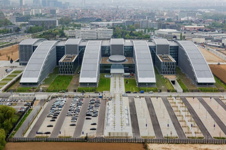 OTAN BRUXELLES 1024853-an-aerial-view-of-the-new-nato-headquarters-in-brussels