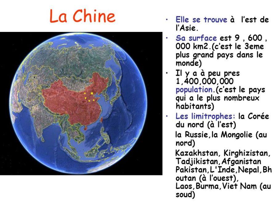 CHINE La+Chine+Elle+se+trouve+à+l%u2019est+de+l%u2019Asie.