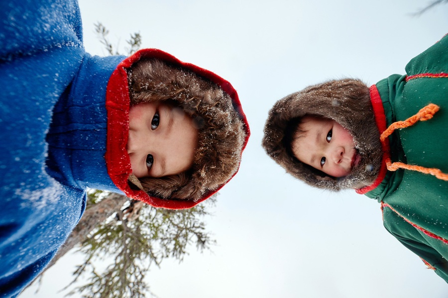 Nenets children looking at camera