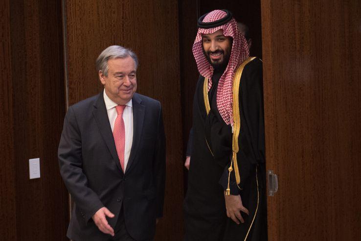 ONU ARABIE SAOUDITE Antonio Guterres et le principe héritier saoudien Mohammed ben Salmane. Le 27 mars 2018 à l'ONU.• Crédits - BRYAN R. SMITH - AFP738_000_13a8or