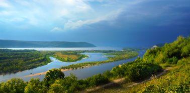 RUSSIE VOLGA VUE SUR LA VOLGA DEPUIS SAMARA dreamstime_panorama-saratov