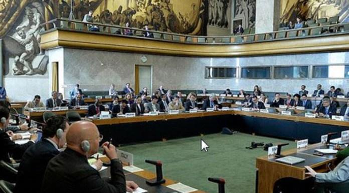 SUISSE GENEVE DESARMEMENT Conférence-désarmement Vue générale de l'assemblée, pendant la Conférence du désarmement à Genève.jpg