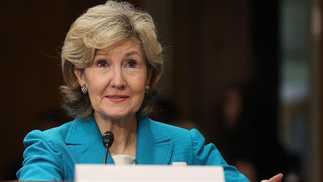 USA L'ambassadrice des États-Unis auprès de l'Otan Kay Bailey Hutchison, le 20 juin 2017 à Washington. ©AFP766854bd-c95e-4300-adcc-68714dc11a48