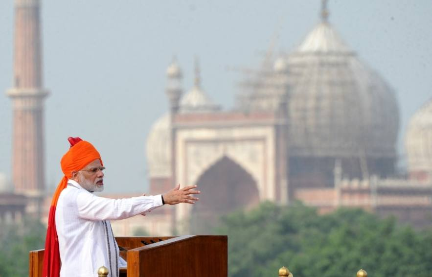 INDE Comme chaque année, le Premier ministre Narendra Modi a donné son adresse à la nation du 15 août, jour de la fête nationale de l'Inde, depuis les remparts du Fort Rouge de New