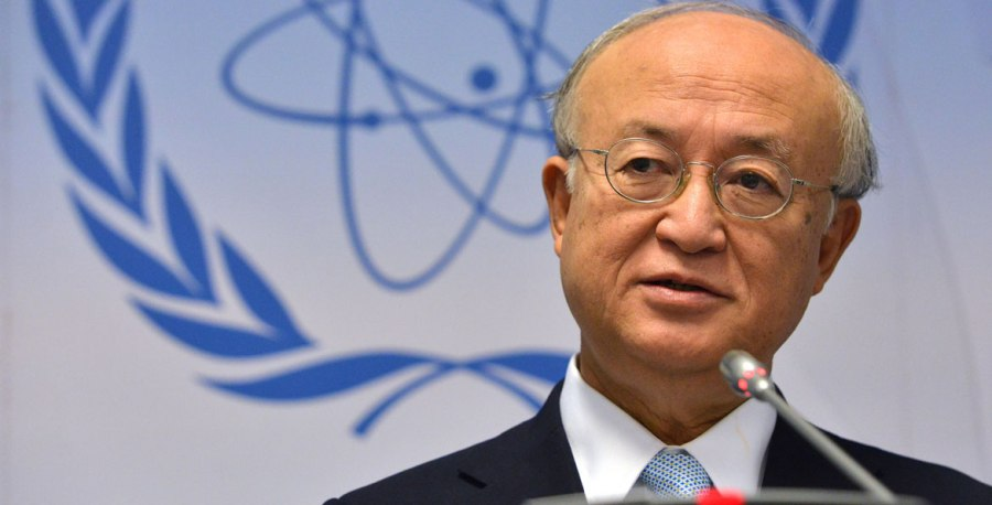 IAEA Director General Yukiya Amano briefs members of the media at a press conference held during the 1412th Board of Governors meeting on Iran.