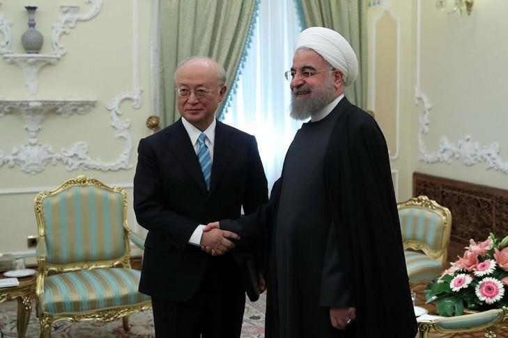 IRAN directeur-general-Agence-internationale-energie-atomique-AIEA-Yukiya-Amano-rencontre-president-iranien-Hassan-Rouhani-29-octobre-2017-Teheran-transmise-presidence-iranienne_0_729_48