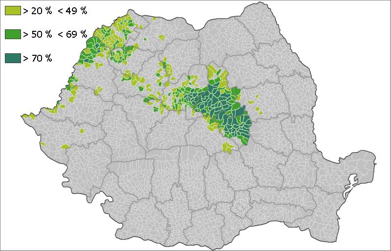 ROUMANIE ET MINORITE HONGGROISE Hungarians_over_20%