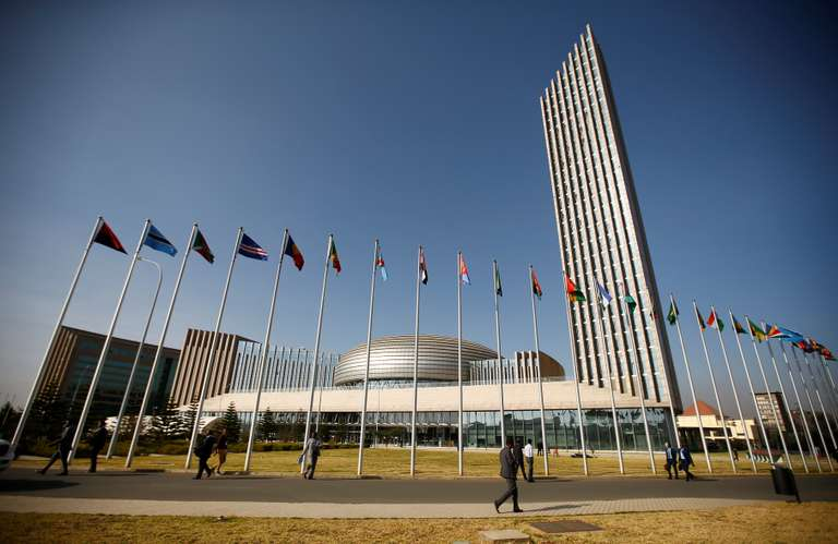 A general view shows the headquarters of the African Union building in Ethiopia's capital Addis Ababa