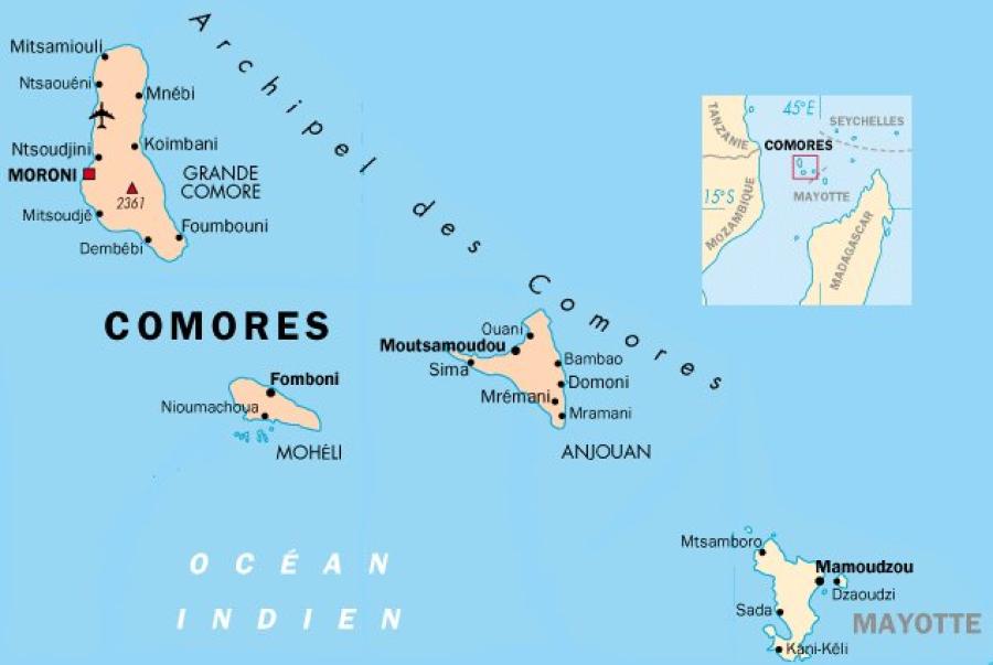 COMORES Lu-Vu-Mayotte-Carte
