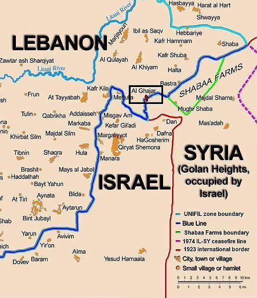 La ligne bleue démarque la frontière libano-israélienne ainsi que la frontière du Liban avec le plateau du Golan.517px-Ghajar_highlighted