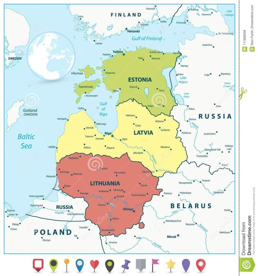 carte-politique-des-pays-baltes-et-indicateurs-plats-de-111868268