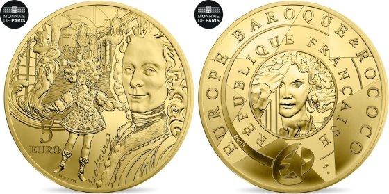 EURO 5 Euro 2018 Paris France Monnaie de Paris, Europa - Voltaire, Or FDCcombined482542