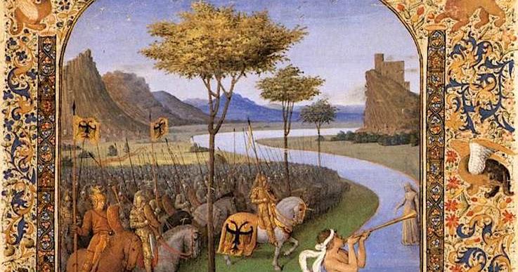 RUBICON Jean_Fouquet (1420-1480) _-_Caesar_franchissant le Rubicon Musée du Louvre PAris enluminure sur velin