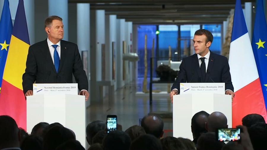 roumanie france le 27 novembre par les présidents roumain et français, klaus johannis et emmanuel macron elys-1