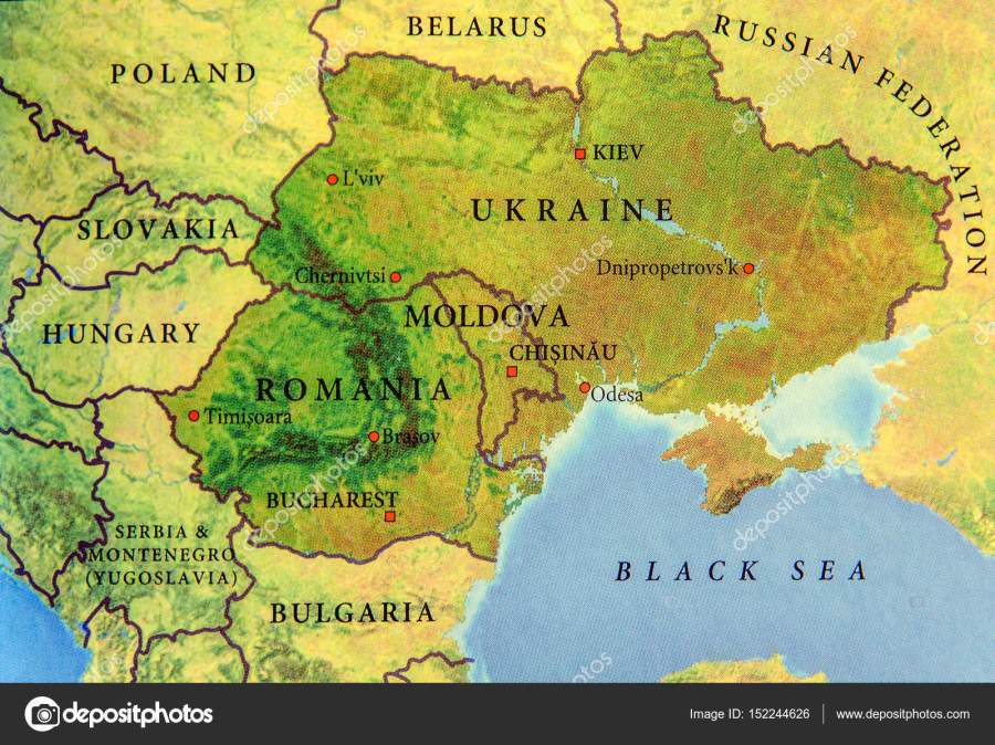 Geographic map of European country Ukraine, Moldova and Romania