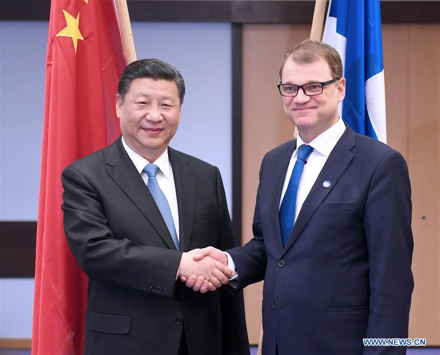 CHINE FINLANDE Entretien entre le président chinois et le Premier ministre finlandais sur la coopération bilatéraleFOREIGN201704060823000035340303243
