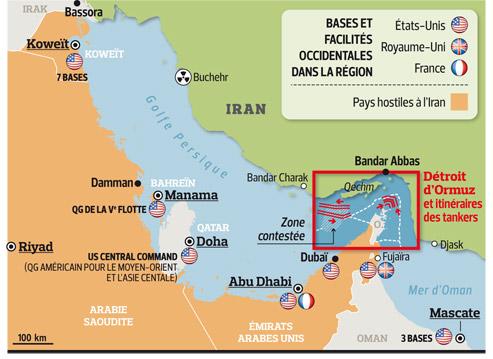 golfe Persique, épicentre d'un triple conflitStrait_of_hormuz-Bases-Militaires-source-LeFigaro.fr