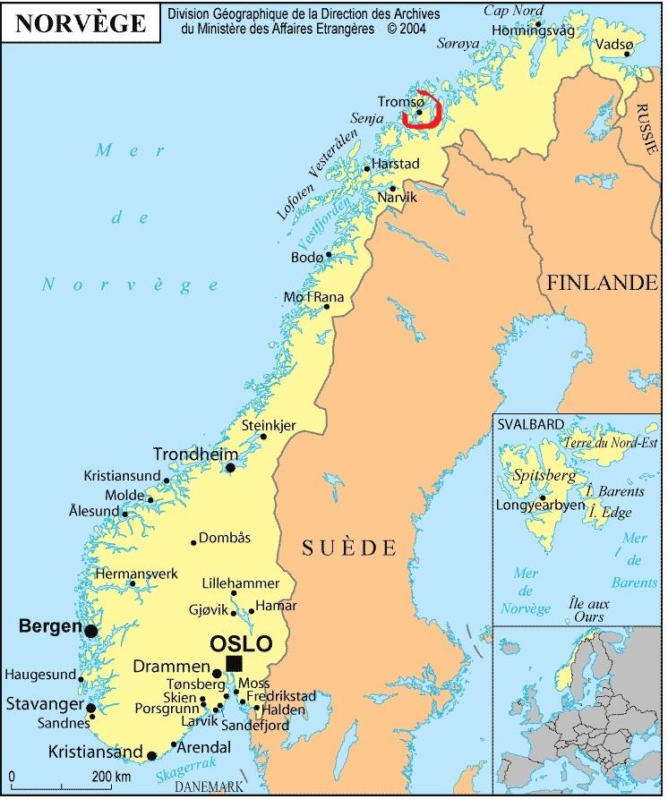 NORVEGE Alta-petroglyphes-d-Alta-carte-de-la-Norvege-et-emplacement-de-Tromso-Finnmark-Norvege-Europe