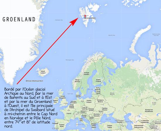 NORVEGE l'archipel norvégien des Svalbardcartefrancesvalbard
